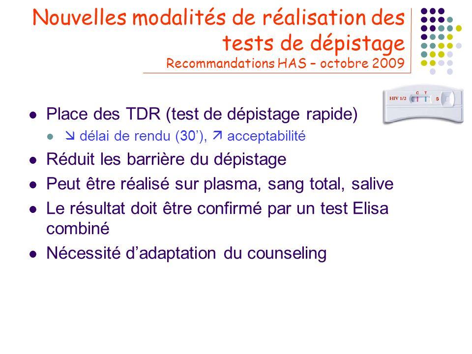 Nouvelles modalités de réalisation des tests de dépistage Recommandations HAS – octobre 2009 Place des TDR (test de dépistage rapide) délai de rendu (