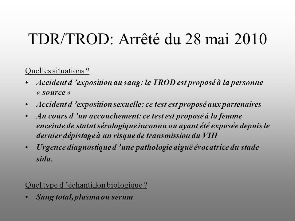 TDR/TROD: Arrêté du 28 mai 2010 Quelles situations ? : Accident d exposition au sang: le TROD est proposé à la personne « source » Accident d expositi