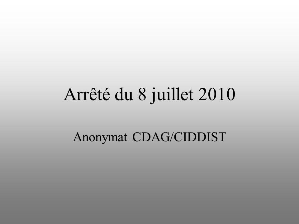 Arrêté du 8 juillet 2010 Anonymat CDAG/CIDDIST