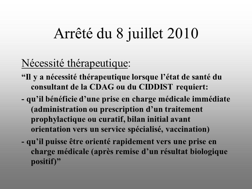 Arrêté du 8 juillet 2010 Nécessité thérapeutique: Il y a nécessité thérapeutique lorsque létat de santé du consultant de la CDAG ou du CIDDIST requier