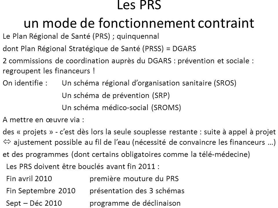 Les PRS un mode de fonctionnement contraint Le Plan Régional de Santé (PRS) ; quinquennal dont Plan Régional Stratégique de Santé (PRSS) = DGARS 2 commissions de coordination auprès du DGARS : prévention et sociale : regroupent les financeurs .