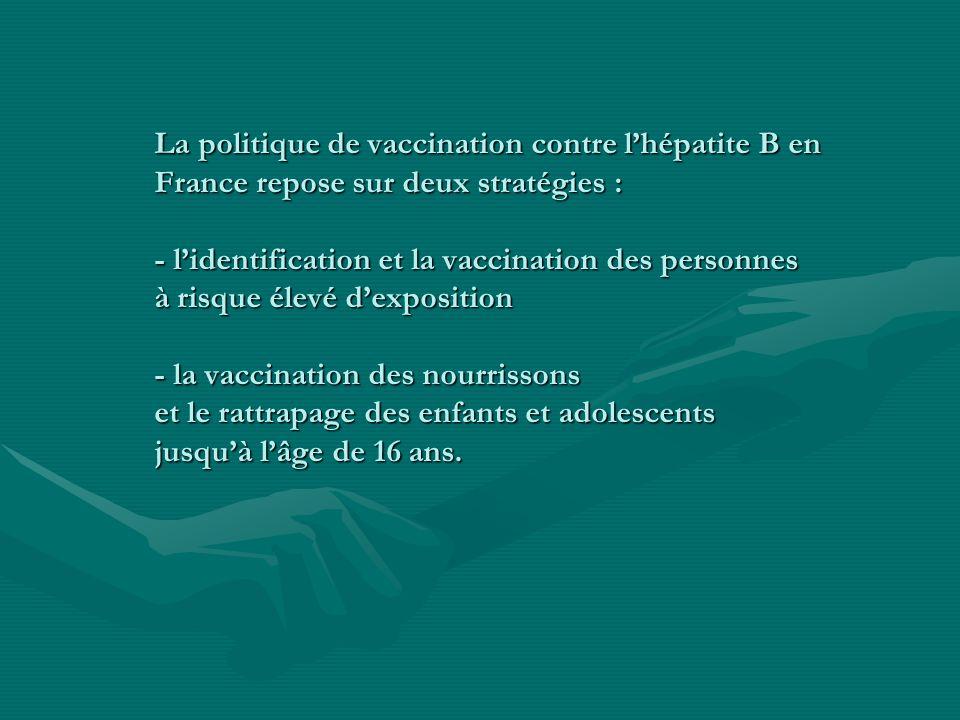 La politique de vaccination contre lhépatite B en France repose sur deux stratégies : - lidentification et la vaccination des personnes à risque élevé