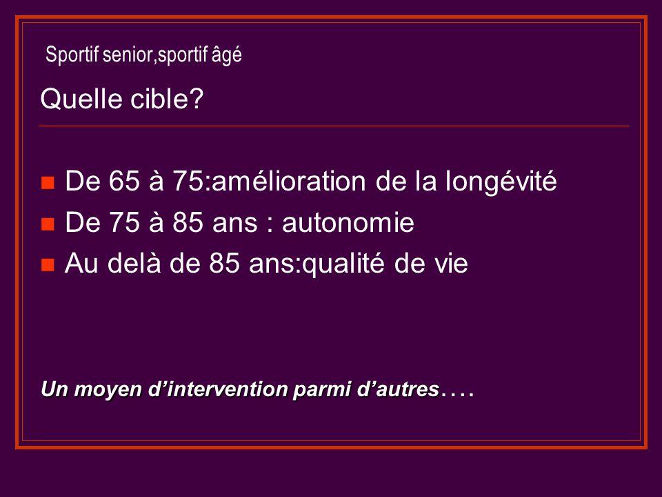 Sportif senior,sportif âgé Quelle cible? De 65 à 75:amélioration de la longévité De 75 à 85 ans : autonomie Au delà de 85 ans:qualité de vie Un moyen