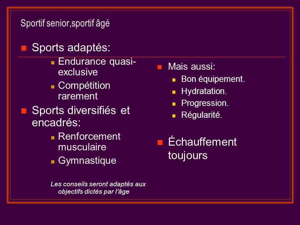 Sportif senior,sportif âgé Sports adaptés: Endurance quasi- exclusive Compétition rarement Sports diversifiés et encadrés: Renforcement musculaire Gymnastique Les conseils seront adaptés aux objectifs dictés par lâge Mais aussi: Bon équipement.