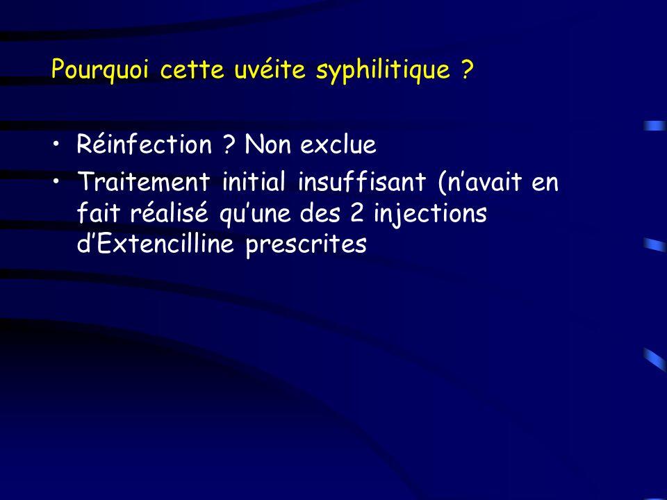 Pourquoi cette uvéite syphilitique ? Réinfection ? Non exclue Traitement initial insuffisant (navait en fait réalisé quune des 2 injections dExtencill