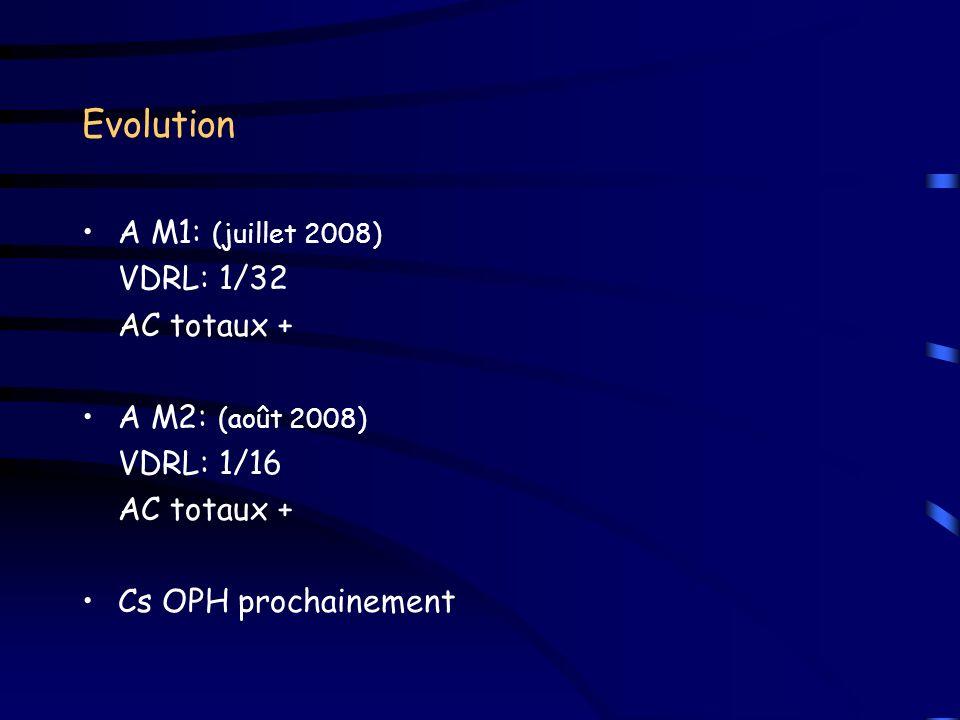 Evolution A M1: (juillet 2008) VDRL: 1/32 AC totaux + A M2: (août 2008) VDRL: 1/16 AC totaux + Cs OPH prochainement