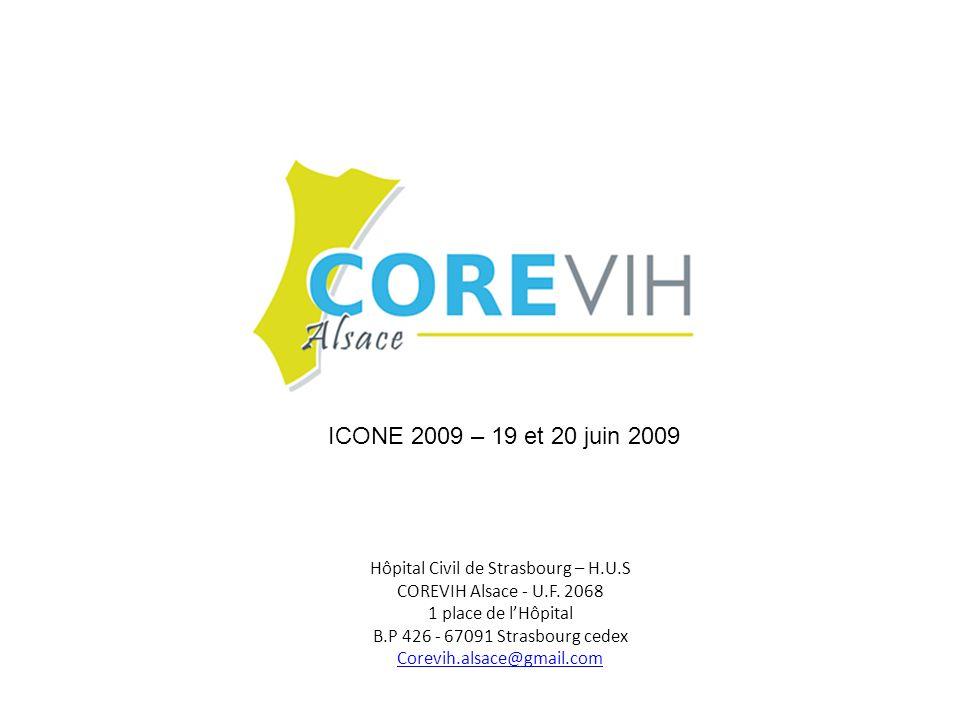 Hôpital Civil de Strasbourg – H.U.S COREVIH Alsace - U.F. 2068 1 place de lHôpital B.P 426 - 67091 Strasbourg cedex Corevih.alsace@gmail.com ICONE 200