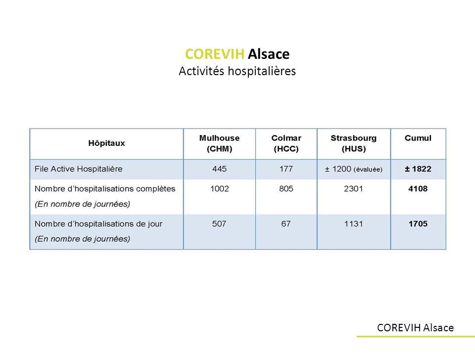 Les ressources allouées COREVIH Convention de partenariat (20 avril 2009) : – Hôpitaux Universitaires de Strasbourg / COREVIH Alsace Personnel – Coordination administrative régionale – 1 ETP – Temps de secrétariat – 1 ETP – Temps de technicien de recherche clinique 1,8 ETP Strasbourg / 1 ETP Mulhouse / 0,5 ETP Colmar Structure – 2 bureaux + 1 salle de réunion (H.U.S.) Prise en charge des déplacements – Contrat de gestion et dadministration des indemnisations des frais de déplacements COREVIH Alsace