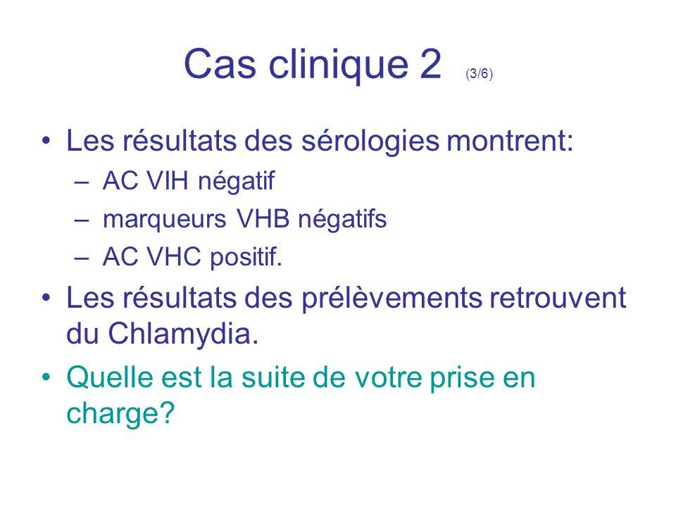Cas clinique 2 (3/6) Les résultats des sérologies montrent: – AC VIH négatif – marqueurs VHB négatifs – AC VHC positif. Les résultats des prélèvements