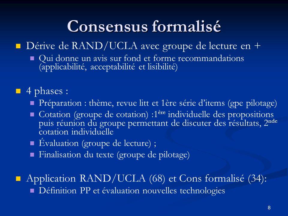 8 Consensus formalisé Dérive de RAND/UCLA avec groupe de lecture en + Qui donne un avis sur fond et forme recommandations (applicabilité, acceptabilit