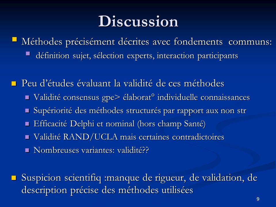 9Discussion Méthodes précisément décrites avec fondements communs: Méthodes précisément décrites avec fondements communs: définition sujet, sélection