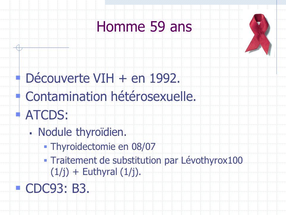 Homme 59 ans Découverte VIH + en 1992. Contamination hétérosexuelle. ATCDS: Nodule thyroïdien. Thyroidectomie en 08/07 Traitement de substitution par