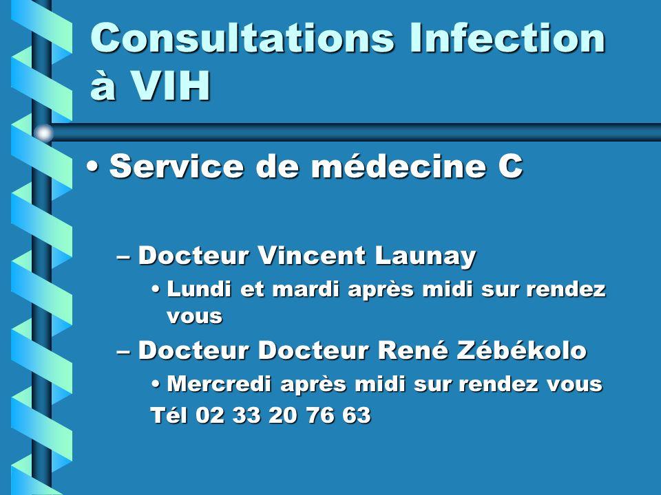 Consultations Infection à VIH Service de médecine CService de médecine C –Docteur Vincent Launay Lundi et mardi après midi sur rendez vousLundi et mardi après midi sur rendez vous –Docteur Docteur René Zébékolo Mercredi après midi sur rendez vousMercredi après midi sur rendez vous Tél 02 33 20 76 63