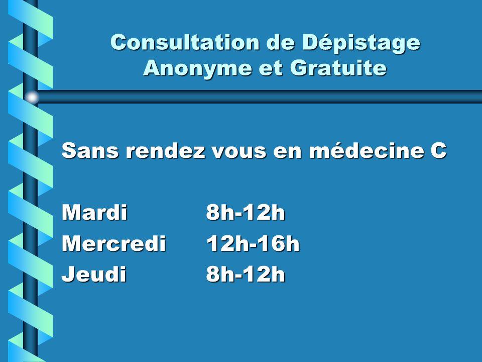 Consultation de Dépistage Anonyme et Gratuite Sans rendez vous en médecine C Mardi 8h-12h Mercredi 12h-16h Jeudi 8h-12h