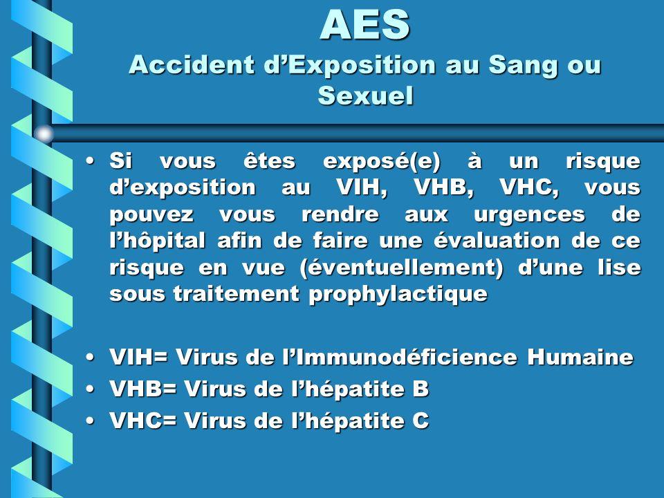 Si vous êtes exposé(e) à un risque dexposition au VIH, VHB, VHC, vous pouvez vous rendre aux urgences de lhôpital afin de faire une évaluation de ce risque en vue (éventuellement) dune lise sous traitement prophylactiqueSi vous êtes exposé(e) à un risque dexposition au VIH, VHB, VHC, vous pouvez vous rendre aux urgences de lhôpital afin de faire une évaluation de ce risque en vue (éventuellement) dune lise sous traitement prophylactique VIH= Virus de lImmunodéficience HumaineVIH= Virus de lImmunodéficience Humaine VHB= Virus de lhépatite BVHB= Virus de lhépatite B VHC= Virus de lhépatite CVHC= Virus de lhépatite C AES Accident dExposition au Sang ou Sexuel