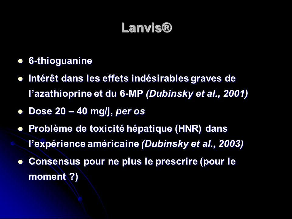 Lanvis® 6-thioguanine 6-thioguanine Intérêt dans les effets indésirables graves de lazathioprine et du 6-MP (Dubinsky et al., 2001) Intérêt dans les e