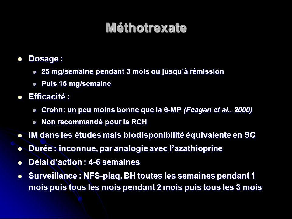 Méthotrexate Dosage : Dosage : 25 mg/semaine pendant 3 mois ou jusquà rémission 25 mg/semaine pendant 3 mois ou jusquà rémission Puis 15 mg/semaine Pu