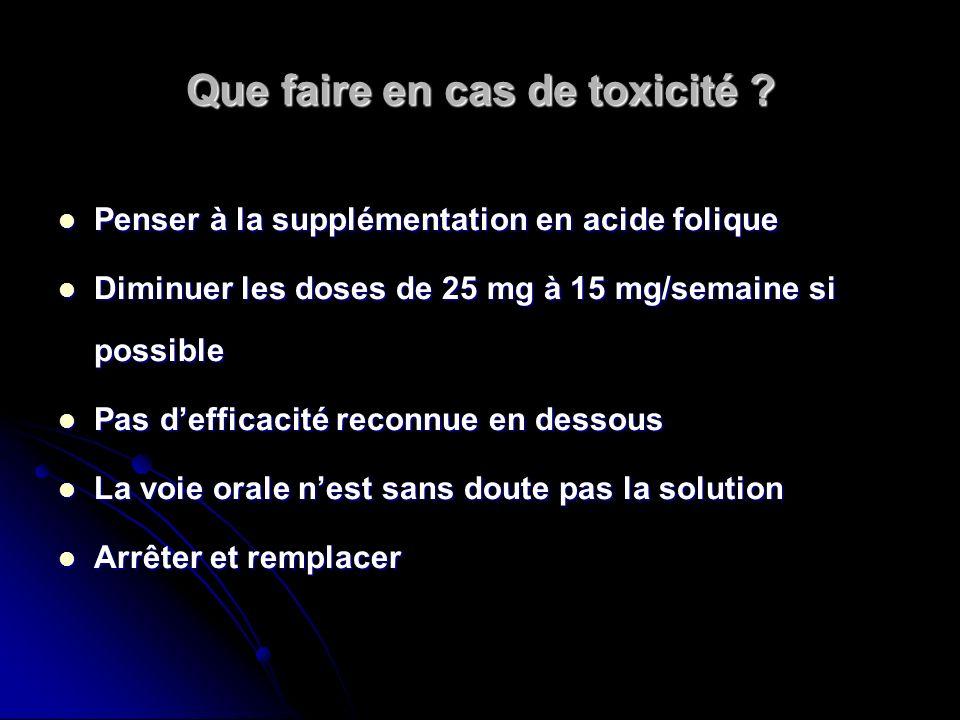 Que faire en cas de toxicité ? Penser à la supplémentation en acide folique Penser à la supplémentation en acide folique Diminuer les doses de 25 mg à