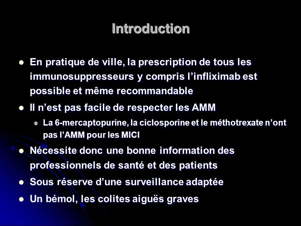 Introduction En pratique de ville, la prescription de tous les immunosuppresseurs y compris linfliximab est possible et même recommandable En pratique
