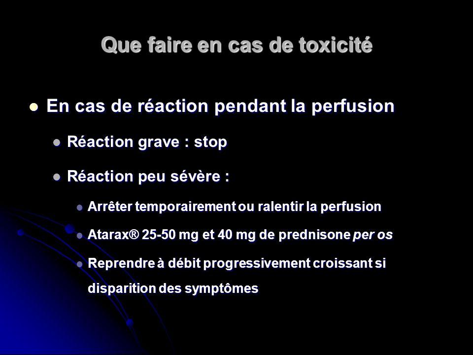 Que faire en cas de toxicité En cas de réaction pendant la perfusion En cas de réaction pendant la perfusion Réaction grave : stop Réaction grave : st