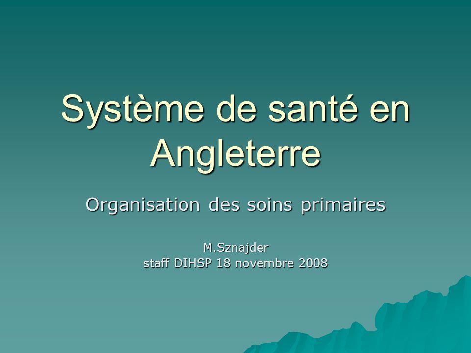 Système de santé en Angleterre Organisation des soins primaires M.Sznajder staff DIHSP 18 novembre 2008