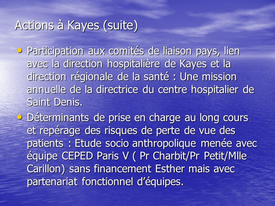 Actions à Kayes (suite) Participation aux comités de liaison pays, lien avec la direction hospitalière de Kayes et la direction régionale de la santé : Une mission annuelle de la directrice du centre hospitalier de Saint Denis.