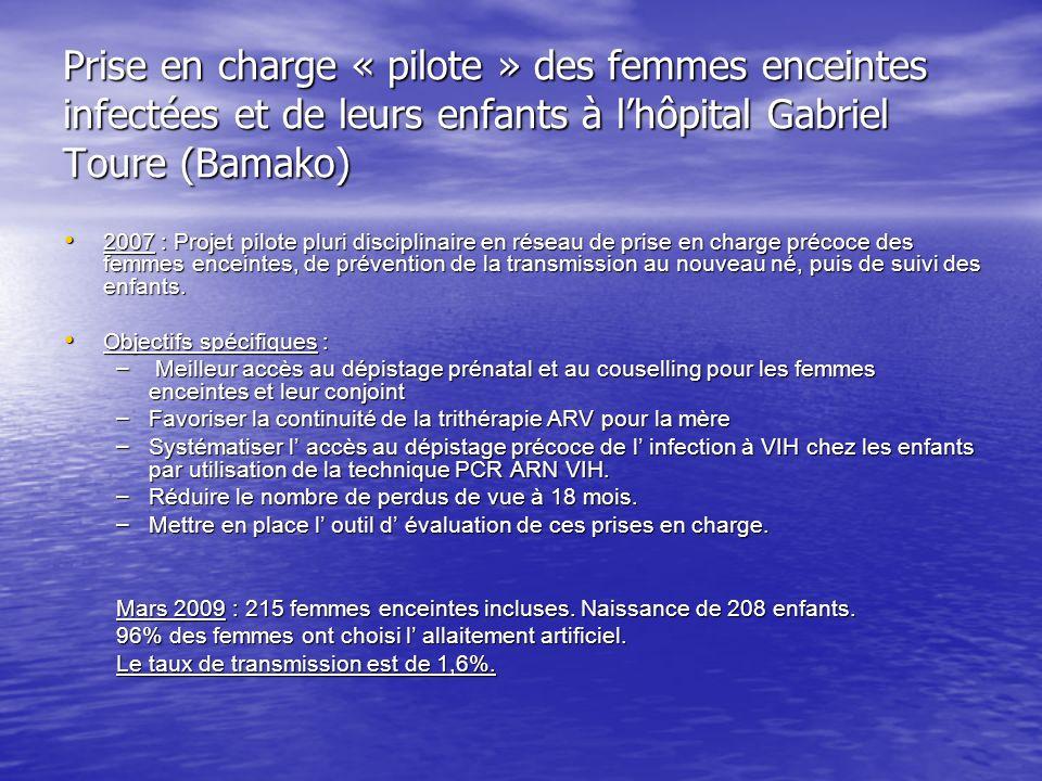 Prise en charge « pilote » des femmes enceintes infectées et de leurs enfants à lhôpital Gabriel Toure (Bamako) 2007 : Projet pilote pluri disciplinaire en réseau de prise en charge précoce des femmes enceintes, de prévention de la transmission au nouveau né, puis de suivi des enfants.