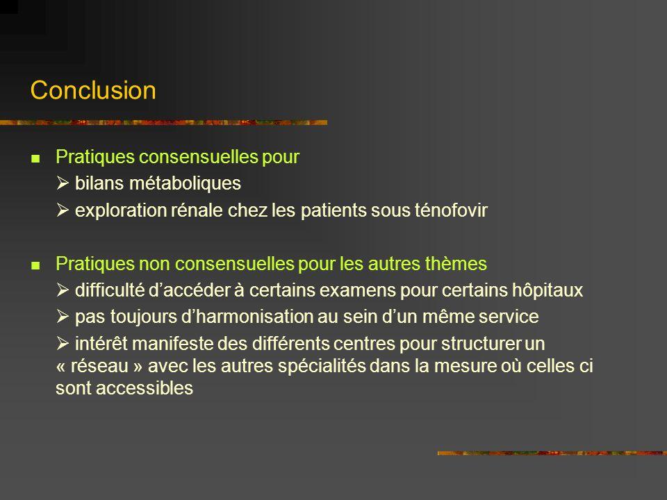 Conclusion Pratiques consensuelles pour bilans métaboliques exploration rénale chez les patients sous ténofovir Pratiques non consensuelles pour les a