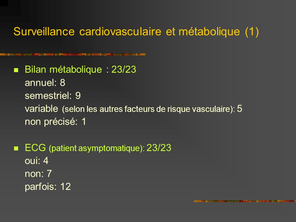 Surveillance cardiovasculaire et métabolique (2) Consultation cardiologie (patient asymptomatique): (23/23) oui: 4 non: 1 parfois: 18 Échographie cardiaque: (22/23) oui: 2 non: 5 parfois: 15 Épreuve deffort: (23/23) oui: 3 non: 4 parfois: 16