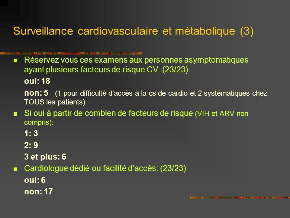 Exploration des troubles rénaux (1) Clearance (calculée ou mesurée): (23/23) lors de la prise en charge oui: 19 non: - parfois: 4 1 fois /an: oui: 15 non: 2 parfois: 5 (nd: 1) chez tous les patients sous ténofovir: oui: 22 non: - parfois: 1 mensuel: 5 (mensuel puis trimestriel) trimestriel: 11 semestriel: 5 annuel: 1