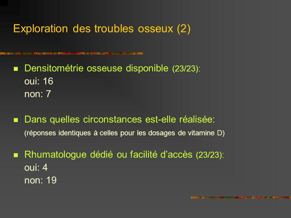 Exploration des troubles osseux (2) Densitométrie osseuse disponible (23/23): oui: 16 non: 7 Dans quelles circonstances est-elle réalisée: (réponses i