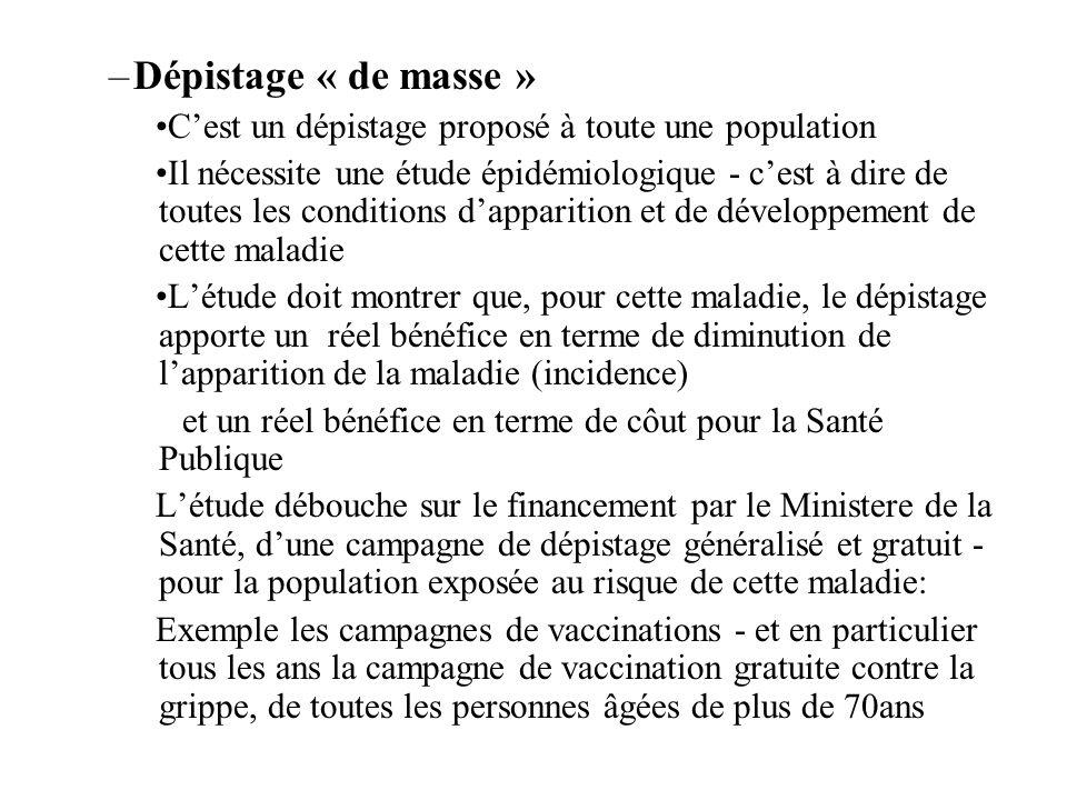 –Dépistage « de masse » Cest un dépistage proposé à toute une population Il nécessite une étude épidémiologique - cest à dire de toutes les conditions