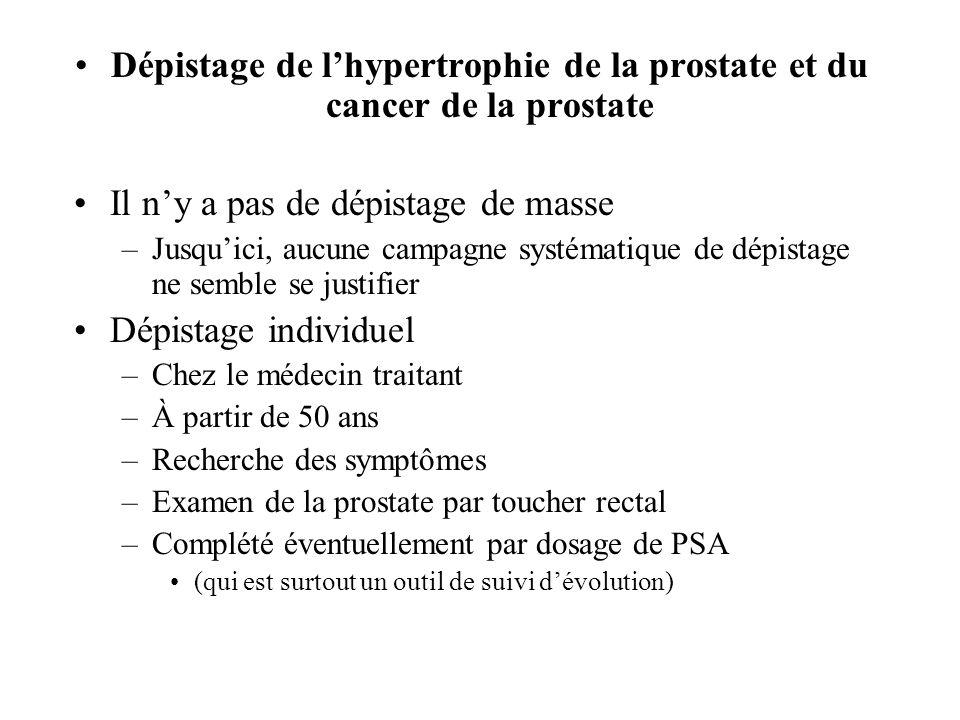 Dépistage de lhypertrophie de la prostate et du cancer de la prostate Il ny a pas de dépistage de masse –Jusquici, aucune campagne systématique de dép