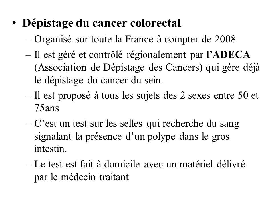 Dépistage du cancer colorectal –Organisé sur toute la France à compter de 2008 –Il est gèré et contrôlé régionalement par lADECA (Association de Dépis