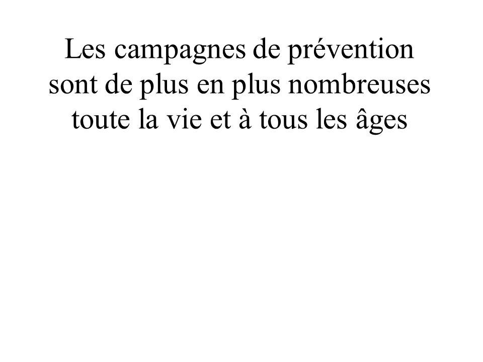 Les campagnes de prévention sont de plus en plus nombreuses toute la vie et à tous les âges
