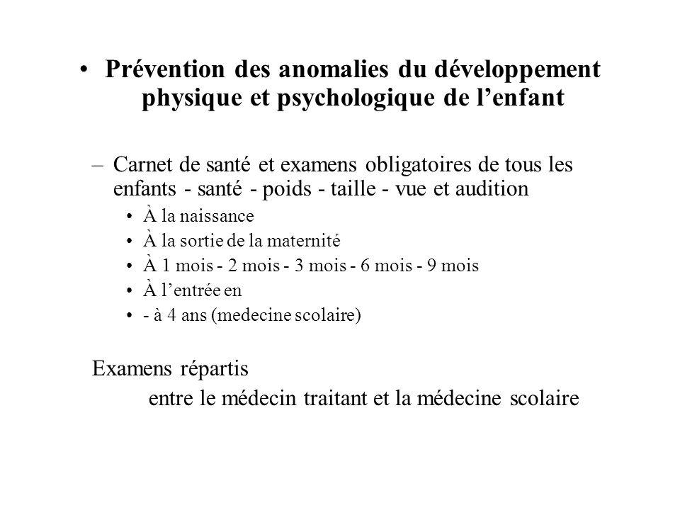 Prévention des anomalies du développement physique et psychologique de lenfant –Carnet de santé et examens obligatoires de tous les enfants - santé -