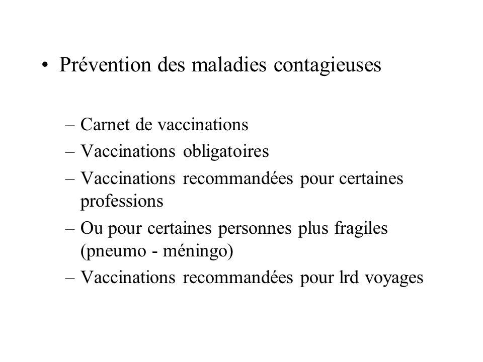 Prévention des maladies contagieuses –Carnet de vaccinations –Vaccinations obligatoires –Vaccinations recommandées pour certaines professions –Ou pour