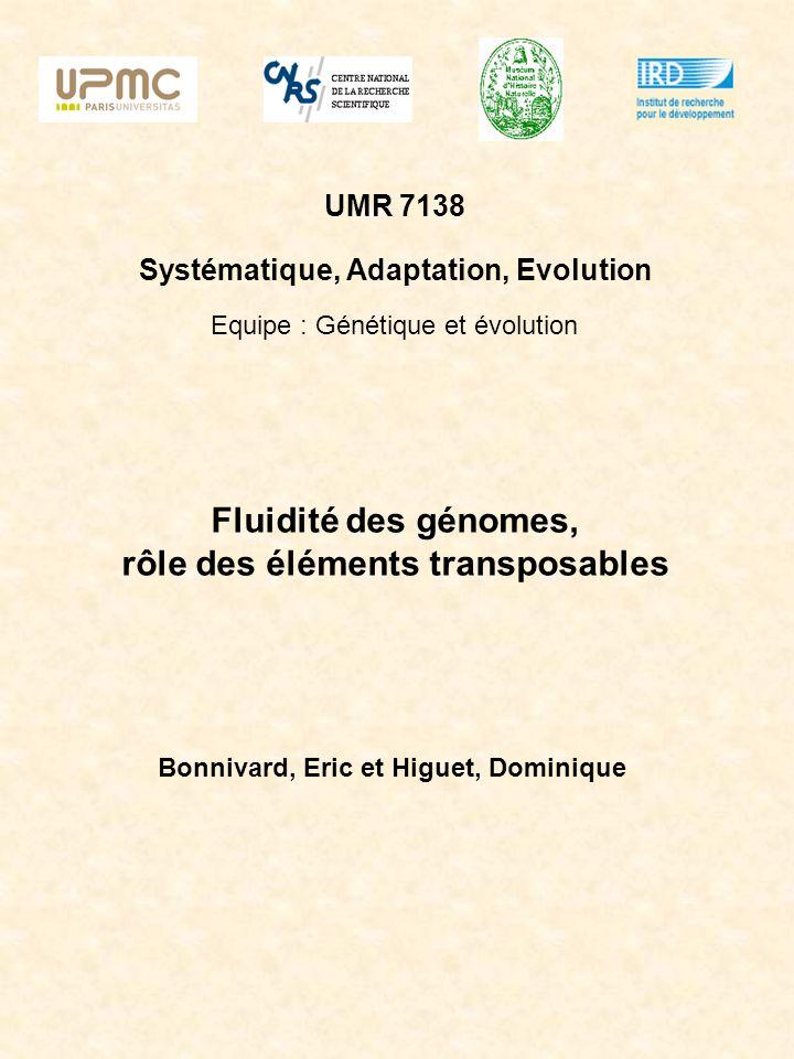 Fluidité des génomes, rôle des éléments transposables Bonnivard, Eric et Higuet, Dominique UMR 7138 Systématique, Adaptation, Evolution Equipe : Génét