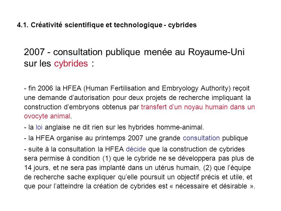 4.1. Créativité scientifique et technologique - cybrides 2007 - consultation publique menée au Royaume-Uni sur les cybrides : - fin 2006 la HFEA (Huma