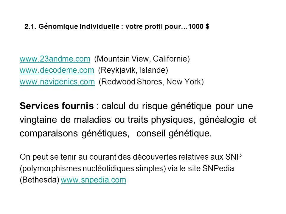 2.1. Génomique individuelle : votre profil pour…1000 $ www.23andme.comwww.23andme.com (Mountain View, Californie) www.decodeme.comwww.decodeme.com (Re