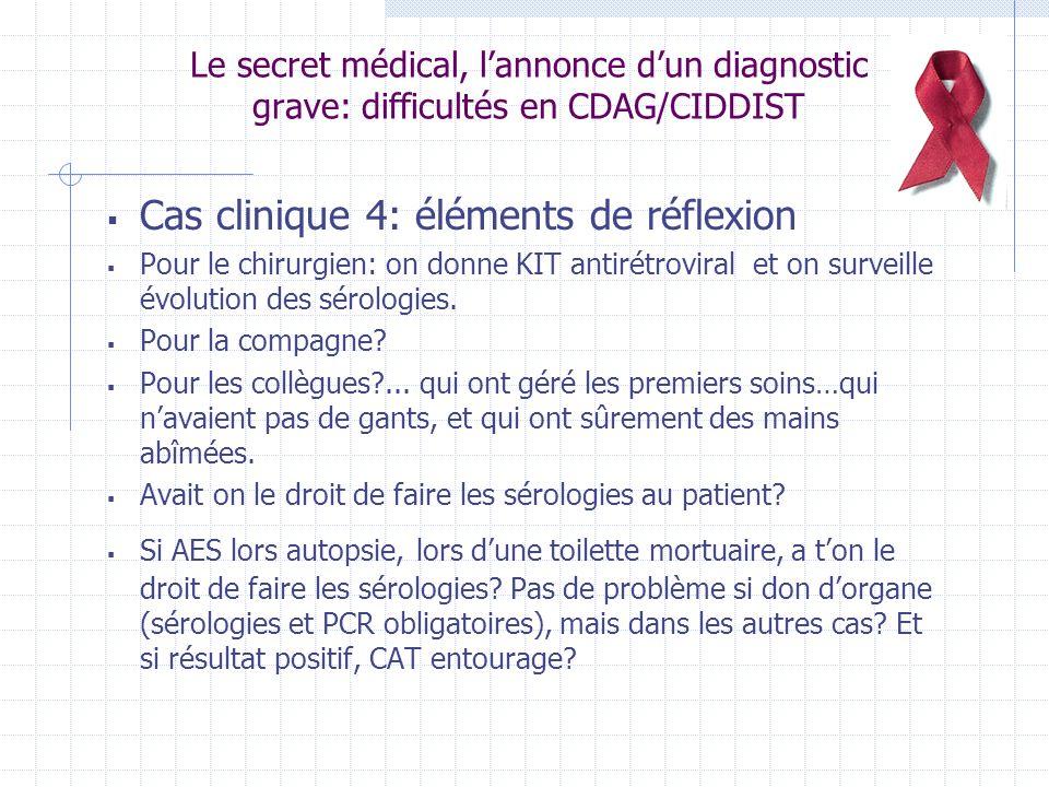 Le secret médical, lannonce dun diagnostic grave: difficultés en CDAG/CIDDIST Cas clinique 4: éléments de réflexion Pour le chirurgien: on donne KIT antirétroviral et on surveille évolution des sérologies.