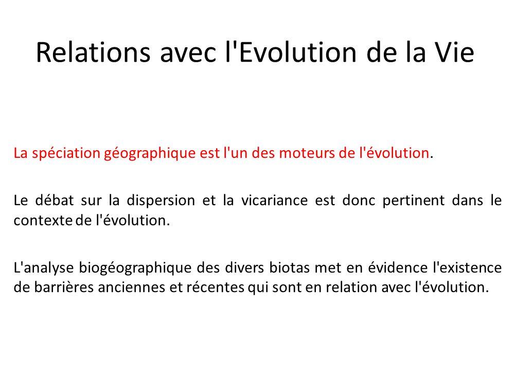 Relations avec l'Evolution de la Vie La spéciation géographique est l'un des moteurs de l'évolution. Le débat sur la dispersion et la vicariance est d