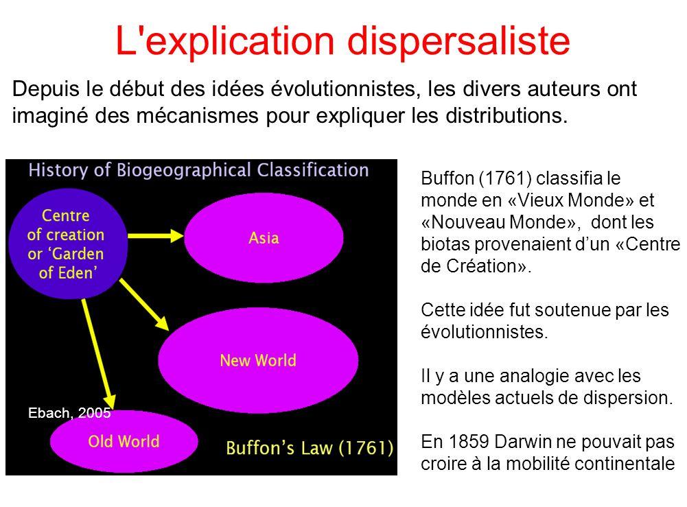 L'explication dispersaliste Depuis le début des idées évolutionnistes, les divers auteurs ont imaginé des mécanismes pour expliquer les distributions.