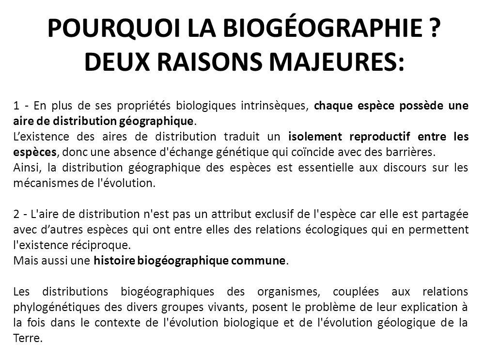 POURQUOI LA BIOGÉOGRAPHIE ? DEUX RAISONS MAJEURES: 1 - En plus de ses propriétés biologiques intrinsèques, chaque espèce possède une aire de distribut
