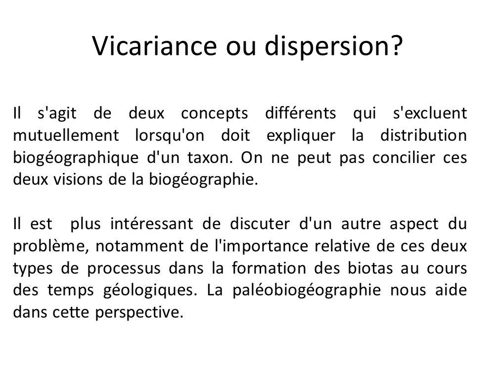 Vicariance ou dispersion? Il s'agit de deux concepts différents qui s'excluent mutuellement lorsqu'on doit expliquer la distribution biogéographique d