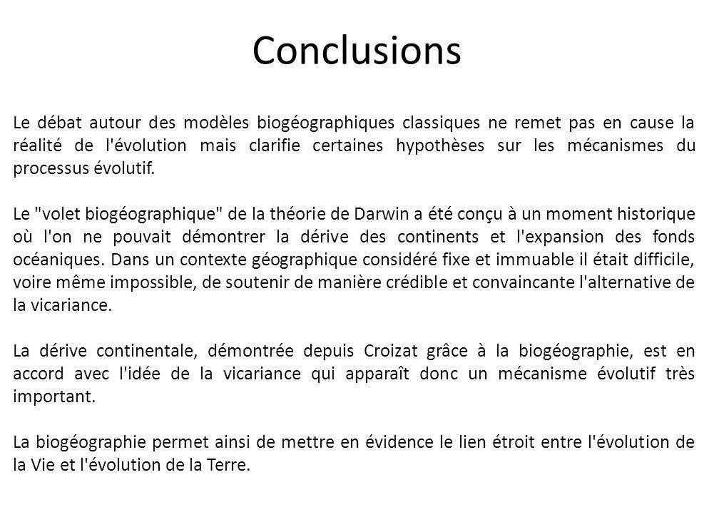 Conclusions Le débat autour des modèles biogéographiques classiques ne remet pas en cause la réalité de l'évolution mais clarifie certaines hypothèses