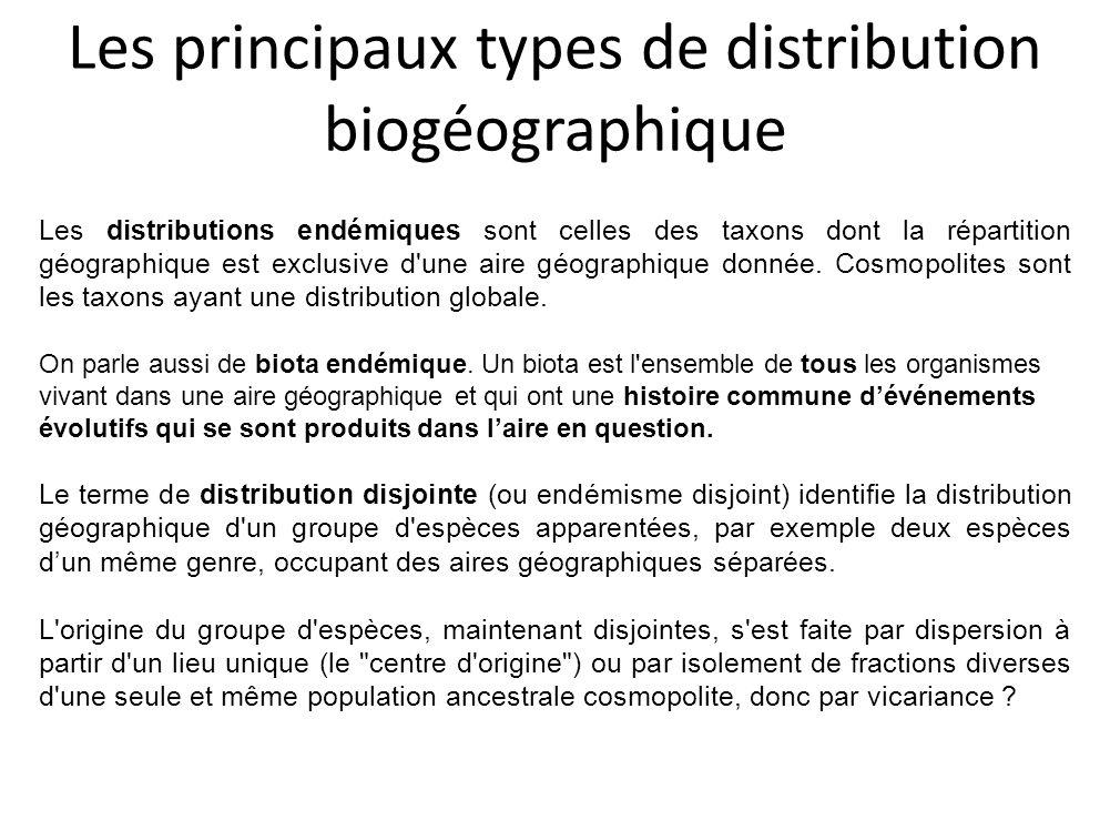 Les principaux types de distribution biogéographique Les distributions endémiques sont celles des taxons dont la répartition géographique est exclusiv