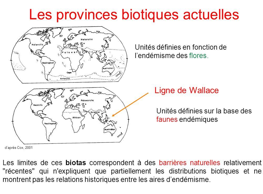 Les provinces biotiques actuelles Les limites de ces biotas correspondent à des barrières naturelles relativement