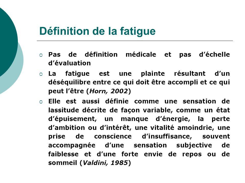 Définition de la fatigue Pas de définition médicale et pas déchelle dévaluation La fatigue est une plainte résultant dun déséquilibre entre ce qui doi