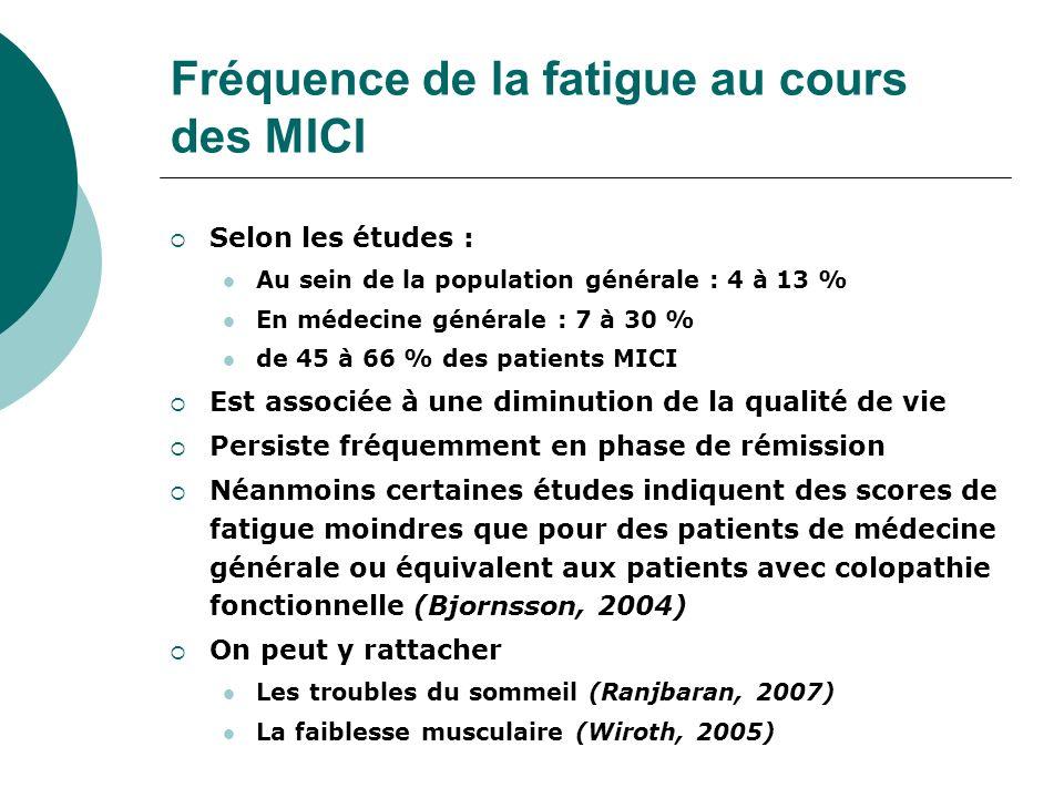 Fréquence de la fatigue au cours des MICI Selon les études : Au sein de la population générale : 4 à 13 % En médecine générale : 7 à 30 % de 45 à 66 %